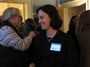 Elizabeth Jacks, Director of the Thomas Cole National Historic Site, greets visitors at the Sunday Salon reception.