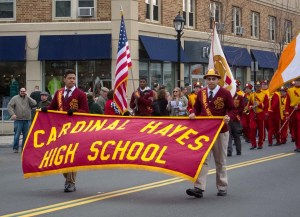 High schools marched, such as Cardinal Hayes here, proudly bearing their banners.