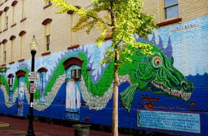 "A mural about the Hudson's own ""Loch Ness Monster."" I once encountered him and dubbed him ""Hudson Henry."""