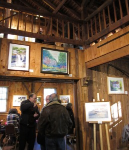 Guests at the reception enjoying the art