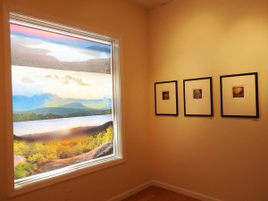 To the left, one of Vincent Bilotta's images on a window of the gallery; to the right, some of Dan Burkholder's scenic images