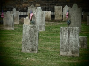 These tombstones are in the yard of the historic Old Dutch Church, across the street from the FOHK Gallery.